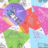 Space memphis seamless pattern. Royalty Free Stock Photos
