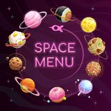 Space Menu Template. Food Planets Poster. Vector Background. Royalty Free Stock Image