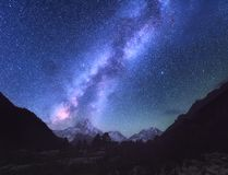 Space. Milky Way. Scene with himalayan mountains Royalty Free Stock Photo