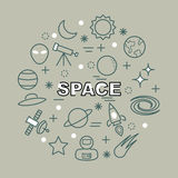 Space minimal outline icons Stock Photo