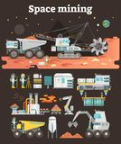 Space mining concept set, vector illustration collection. Space asteroid mining concept illustration with set of machinery, buildings, people and equipment as Stock Photography