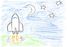 Space mission. Child drawing of a space shuttle launch to the moon and stars made with wax crayons vector illustration