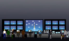 Space mission control center. Rocket launch vector illustration Royalty Free Stock Photography