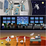 Space mission control center. Rocket launch vector illustration. Astronauts in space station and outer space. Stock Photo