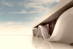 Space with modern building wide sceen wallpaper Stock Image