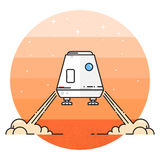 Space module landing on Mars. Space module landing on the red planet. Human mission to Mars. Space future home for humans on the Mars. Thin line icon. Vector Stock Photos
