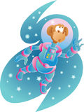 Space monkey. Monkey floating in outer space Royalty Free Stock Image
