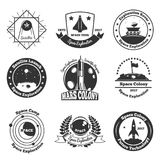 Space monochrome emblems set. Space exploration emblems collection of nine isolated monochrome images with stars decorative images and text captions vector stock illustration
