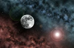 Space Moon. Moon seen from space with red and blue nebulas Stock Photo