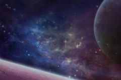 Space. Nebula with 2 planets and stars Royalty Free Stock Images