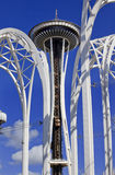 Space Needle Arches Blue Skies Seattle Washington Stock Images