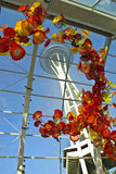 Space Needle from Chihuly Garden. A shot from the Chihuly gallery newly opened as part of Seattle washington's revitalization of City Center Royalty Free Stock Photo