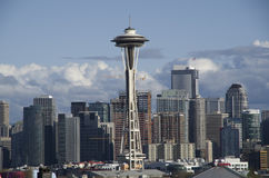 Space needle downtown seattle. Space Needle with crystal clear spring sky. Seattle Stock Photography
