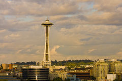 Space Needle in Dusky Clouds Royalty Free Stock Images
