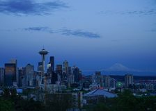 Space Needle and Mount Rainer stock image