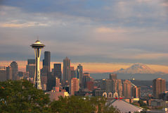 The Space Needle and Mt. Rainier Stock Image