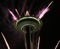 Seattle Space Needle With Fireworks In New Year Night Stock Photo