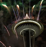 Seattle Space Needle With Fireworks In New Year Night Stock Photography