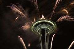 Seattle Space Needle With Fireworks In New Year Night Royalty Free Stock Photography
