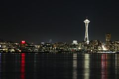 Space Needle night view in the seattle stock photography