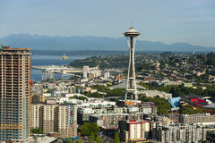 Space Needle and an off shore oil rig Stock Photography
