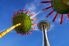 Space Needle With Sculpture Stock Photos