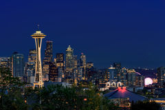 Space Needle and Seattle downtown at night Stock Image