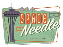 Space Needle Seattle Pop Art Retro Mid Century Modern. Poster 1962 world`s fair design royalty free illustration