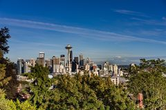 Seattle skyline with blue sky royalty free stock image
