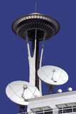 Space Needle - Seattle - USA. Communication dishes and microwave links near the Space Needle in the city of Seattle in the state of Washington in the north west Stock Photography