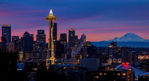 Space Needle, Seattle, Washington State. Sunrise colors behind the Space Needle from Kerry Park on Queen Anne Hill Royalty Free Stock Photo