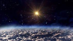Space night orange star cross stock video