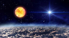 Space night sun with star stock video footage