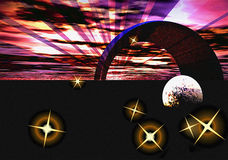 Space objects. Abstract creative symbolic image of cosmic objects Stock Image