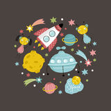 Space Objects in Cartoon Style Vector Collection Royalty Free Stock Image