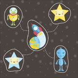 Space Objects in Cartoon Style Vector Set Stock Photography