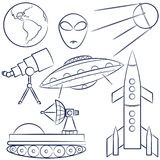 Space objects collection Royalty Free Stock Photos