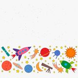 Space objects rocket, planet, star, comet, ufo, satellite royalty free illustration