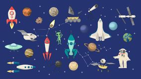 Space objects set. Rockets and shuttle, astronauts and aliens vector illustration