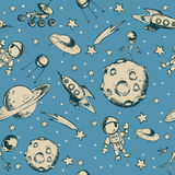 Space objects and symbols seamless Stock Photo
