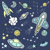 Space objets stickers patches and design elements. Set of space objets stickers patches and design elements, design for children Royalty Free Stock Photos