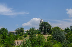 Space observatory. Observatory on the background of blue sky with trees Stock Photo