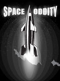 Space oddity. Rocket launch and text. Vector image retro black and white movie style Stock Images