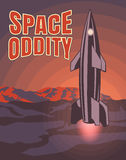 Space oddity. Rocket launch and text. Vector image retro black and white movie style  Stock Image