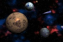 Space Odyssey. On distant alien planets - digital illustration Stock Image