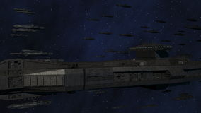 Space Opera: Large Space Battleship Armada. An armada of space battleships is traveling through outer space stock video