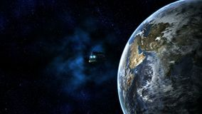 Space Passenger Liner reaching Earth stock video
