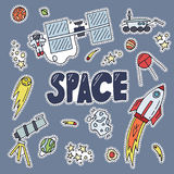Space patch vector illustration. Cosmos discovery and exploration poster. Doodle style, cartoon design. Cute sticker. Galaxy adventure or journey Royalty Free Stock Photo