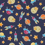 Space pattern. Seamless space pattern wallpaper with rockets and stars, with clipping mask Stock Image