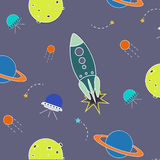 Space pattern. Illustration rocket, aliens, shuttle, planet and stars. Vector space pattern. Illustration with rocket, aliens, shuttle, planet and stars stock illustration